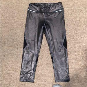 Alala Pants - Alala Metallic Silver with Mesh Cropped Leggings